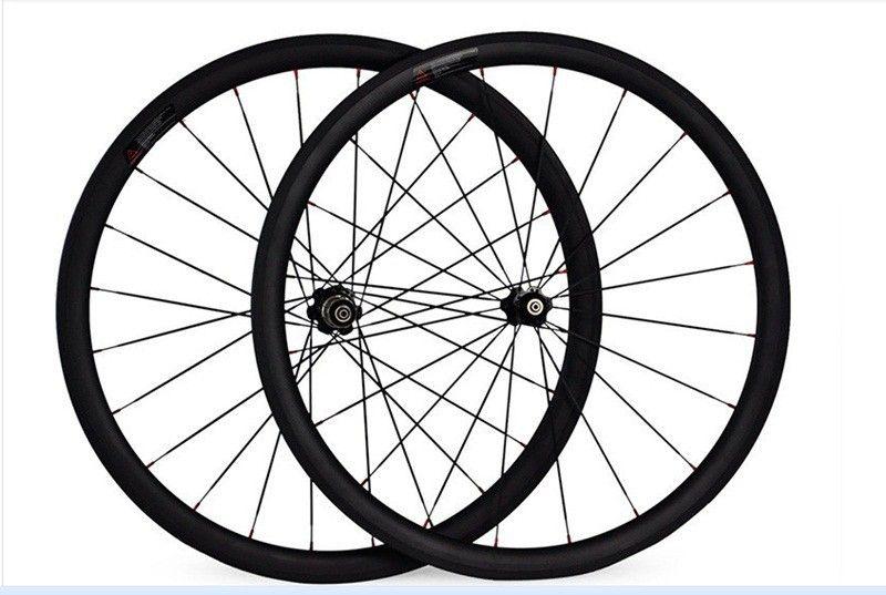 Livraison gratuite carbone roues route 38mm pneu roues 700C largeur 23mm carbone powerway R13 moyeux vélo route vélo wheelste