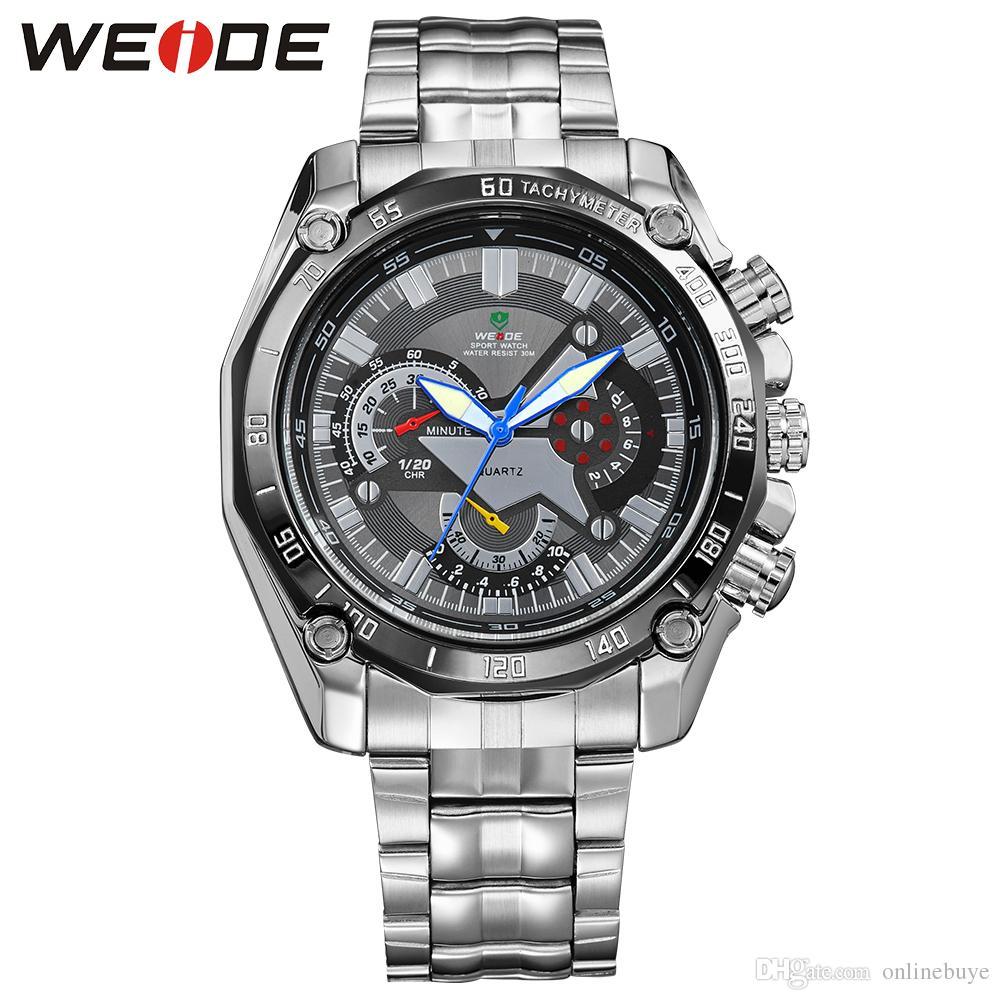 92bb81367554 Compre Relojes Hombres De Lujo Marca Militar Reloj Weide Completo Reloj De  Acero Inoxidable Luminoso De Cuarzo Analógico 30m Relojes De Pulsera  Impermeables ...