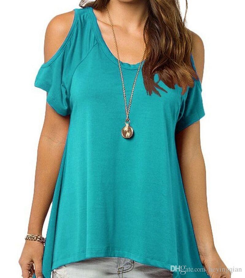 2018 Marke Kleidung Sommer V reine Baumwolle Kurzarm Trägerlosen Kragen Fischschwanz Saum weibliche T-Shirt Kostenloser Versand S-XXXL