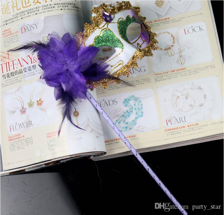 여성 파티 마스카라 드 마스크 페인 티드 할로윈 플라워 사이드 베네치아 카니발 파티 마스크 스틱 퍼포먼스 페이스 마스크