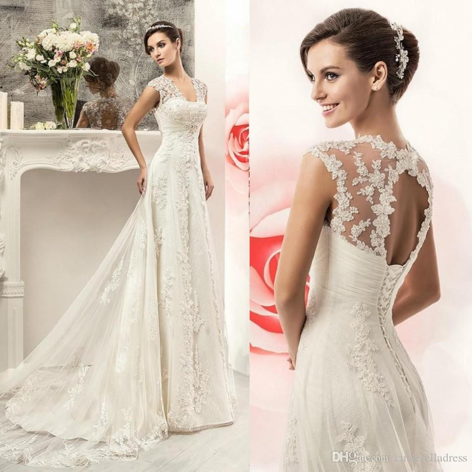 Discount Best Selling 2016 Lace Wedding Dresses Cheap Cap Sleeves ...