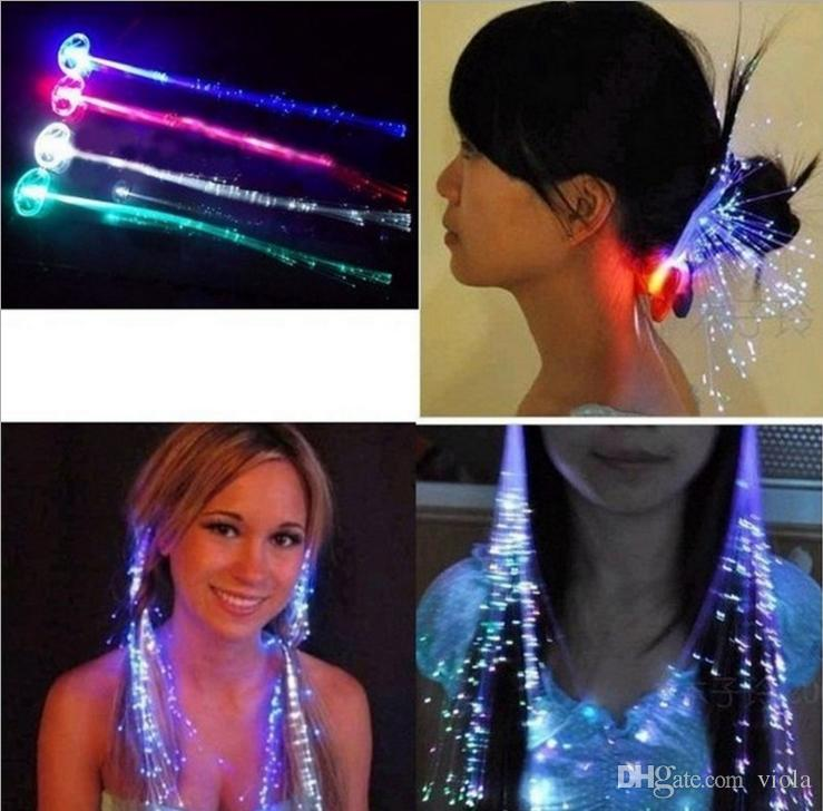 fashion LED Flash Braid Women Colorful Luminous Hair Clips Barrette Fiber Hairpin Light Up Party Halloween Bar Night Xmas Toys