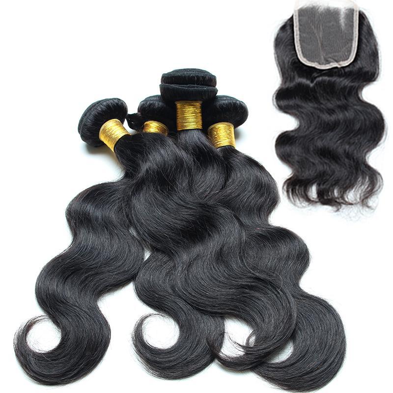 Maylasian Body Wave Hair With Closure 4bundle Great Lengths Hair