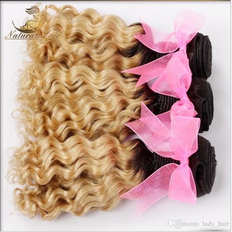 9A Virgin Brasilianische tiefe lockige Welle Ombre 3bundles mit Schließung t # 1b / 613 Gelockte Haarwege mit Schließung dunkler Wurzeln Blondes Haar mit Schließung