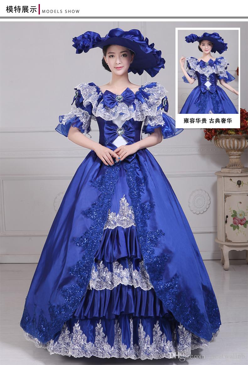 100%real Carnival Royal Blue Lace Ball Gown With Hat Medieval ...