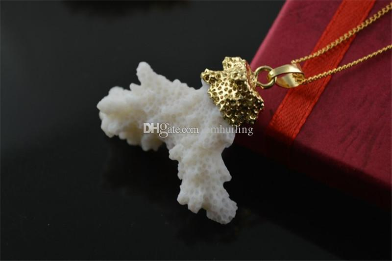 White Sea Bamboo Natural Genuine Coral Tree Branch Shape Pendants Beads Necklace Unique Fashion Jewelry Choker Collar Necklace for Men Women