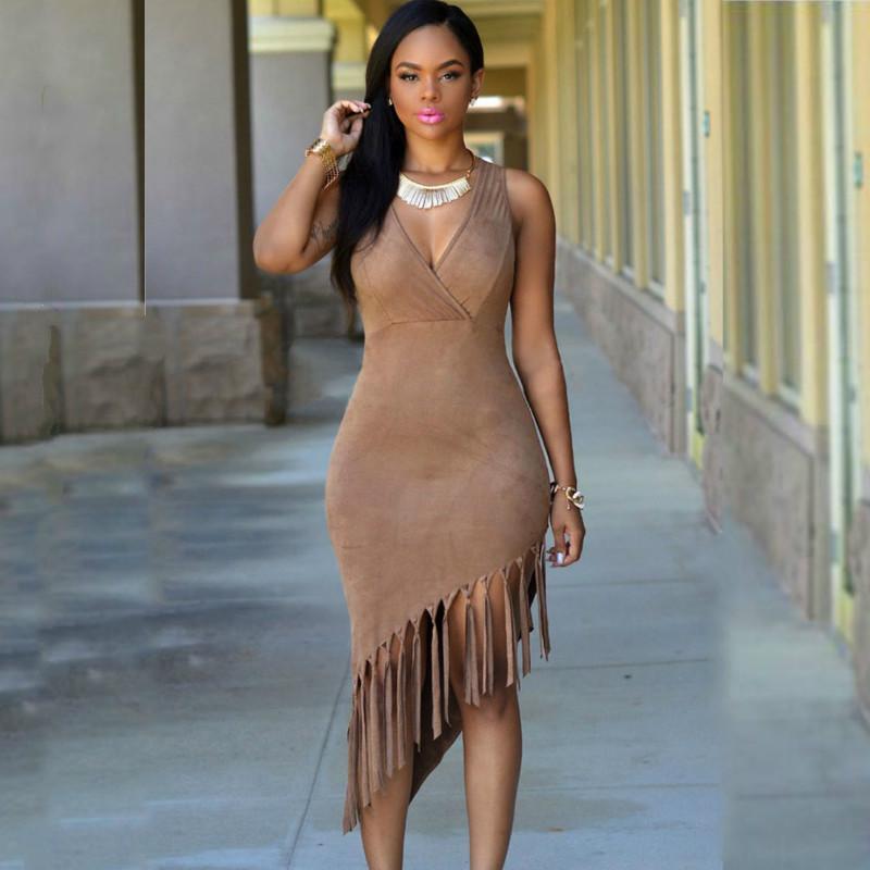 4868bf0f7b93 Fashion Summer Sleeveless V Neck Borwn Faux Suede Fringe Tassel Bodycon  Dress Asymmetric Sexy Club Dresses 2016 New Arrival Vestidos Mujer Long  Dress Women ...