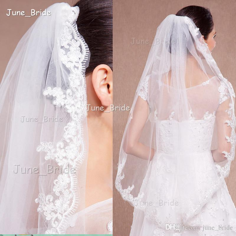 Elegant Bridal Veil Fingertip Length Lace One Layer Wedding Hair Accessory with Comb New Style White Ivory High Quality Factory Custom Made