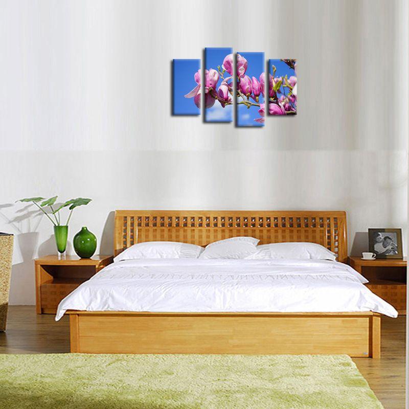 4 패널 핑크 복숭아 꽃 꽃 벽 장식 예술 이미지 캔버스에 인쇄 현대 홈 장식에 대 한 그림 풍경 Frameless 회화