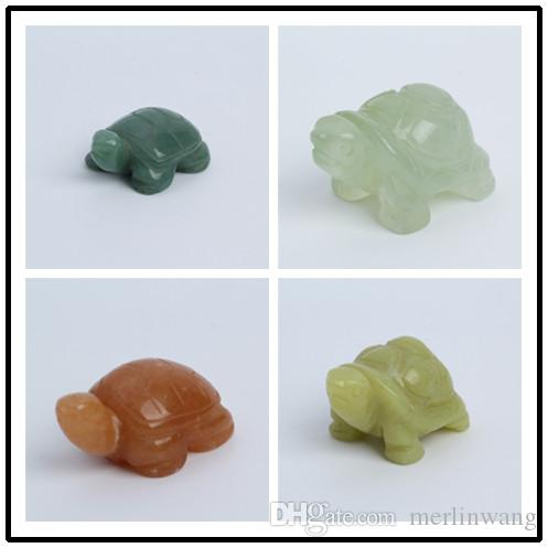 1.2-1.6inch Quartz crystal Tortoise Figurine Carving Stone Longevity Chakra Healing Reiki Stones Carved Craft crystal tortois