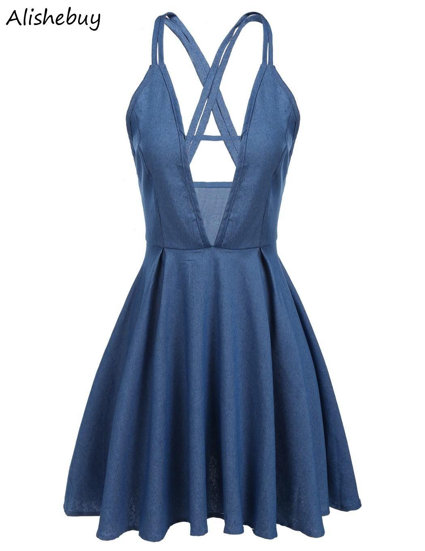Summer Dresses Women V Neck Strap Backless Jean Suspender Skater Dresses  Backless High Waist Casual Mini Pleated Dress Blue Sale SVH033615 Long  Striped ... b0f48886c0