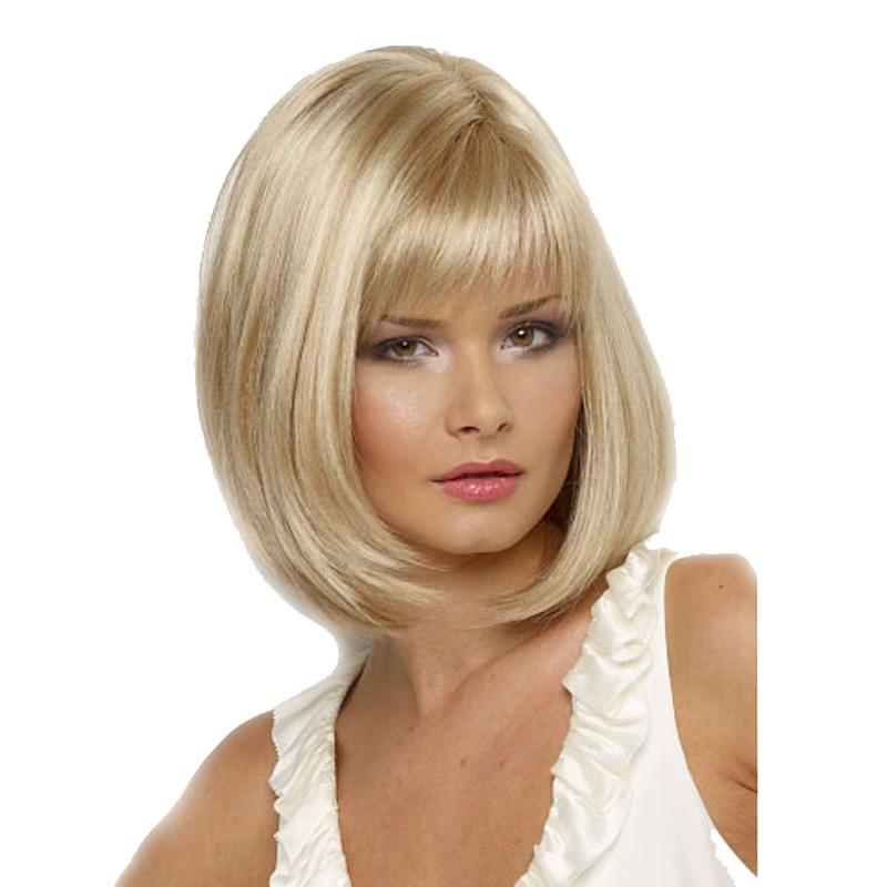 WoodFestival Short Blonde Wig High Temperature Straight Hair Wigs White  Women Medium Length Fiber Synthetic Hair Bob Wig Synthetic Hair Wig  Monofilament ... 2573923e9748