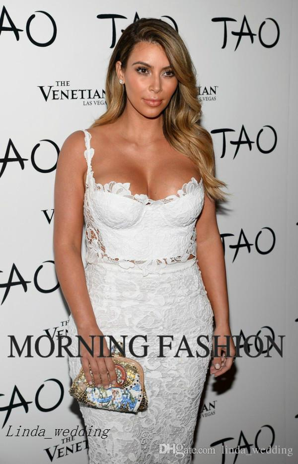 Frete Grátis Kim Kardashian Vestidos de Noite Querida Formal Rendas Brancas Vestidos Curtos Celebridade Vestidos de Festa À Noite Vestidos De Fiesta
