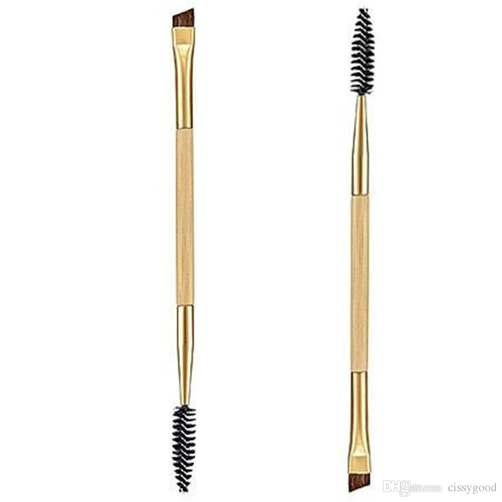 Wholesale Professional Makeup Tools Bamboo Handle Double Eyebrow