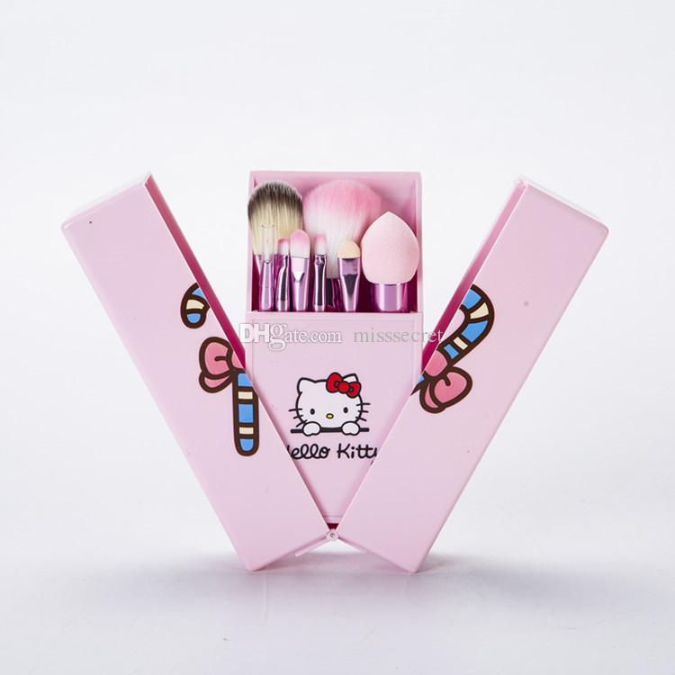 Prix bas / set Bonjour Kitty Pinceaux De Maquillage Ensemble Fondation Brosse Ombre À Paupières Cosmétique Maquillage Brosse Outils Kit Avec Boîte De Miroir