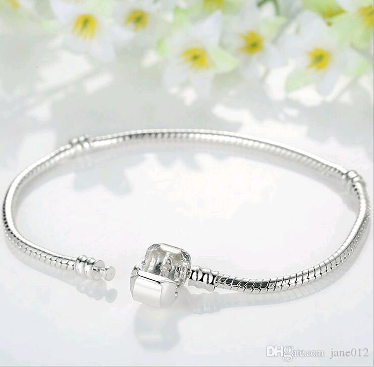 Argent 925 Serpent Bracelet chaîne Pandora fermoir Charm Perle Bracelet Bracelets Mix Taille 17cm-21CM gros