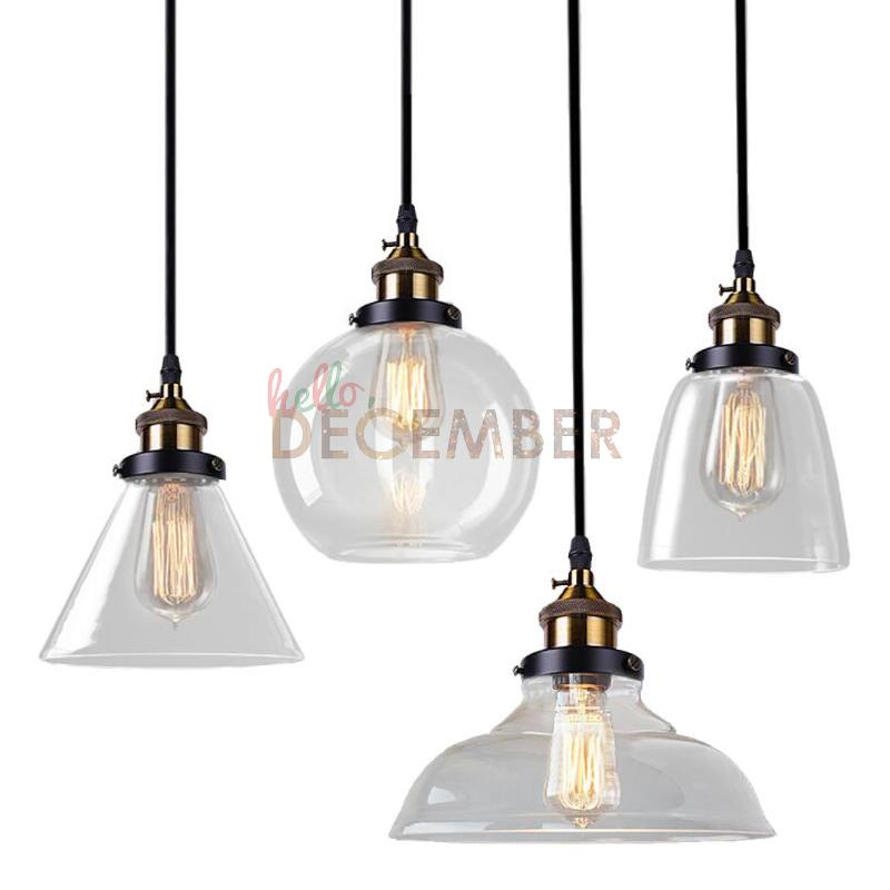 Vintage Led Crystal Glass Pendant Lights Led Ceiling Pendant Lamps 4 Style  Industrial Edison Glass Light Ac 110 240v Glass Light Pendants Seeded Glass  ...