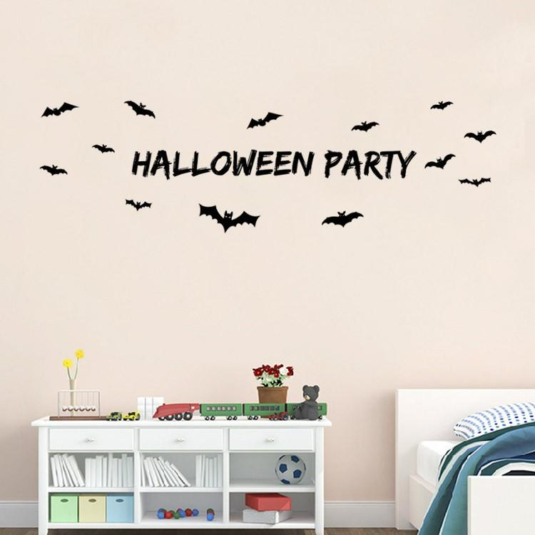 9352 Halloween With Bat Wall Stickers For Windows Dining Room Kid Girl Decorations Decals Decors Design From Fst1688