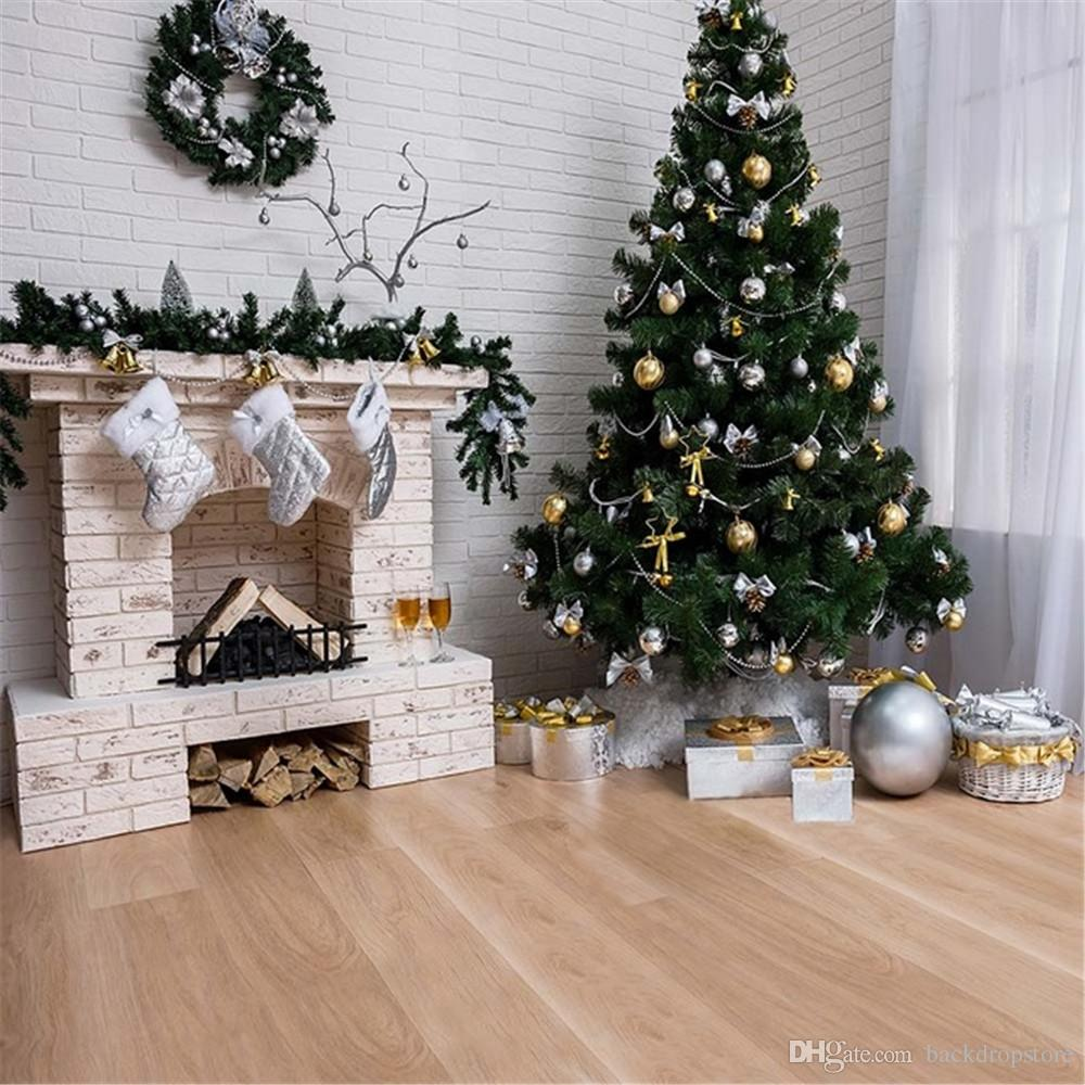 White Brick Wall Fireplace Photography Backdrops Vinyl
