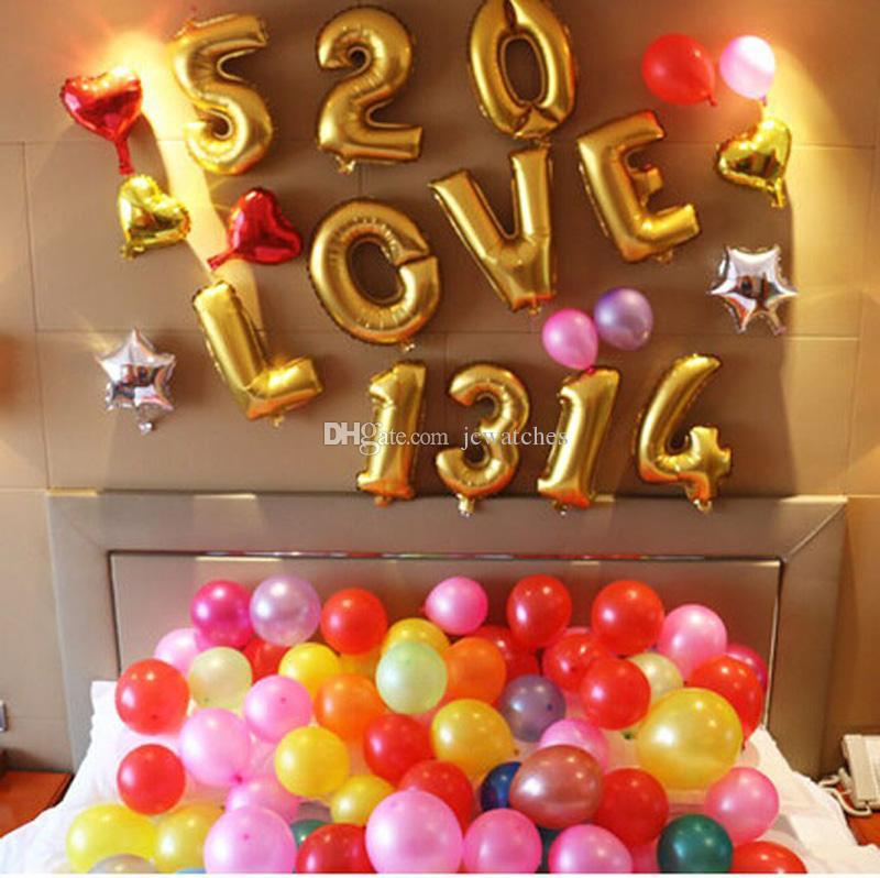 16 polegada Balões Foil 0-9 Ouro Número de Prata Dígito Ballons 2 Cores Carta A a Z Alfabeto Balões De Ar Festa de Aniversário Decoração Do Casamento