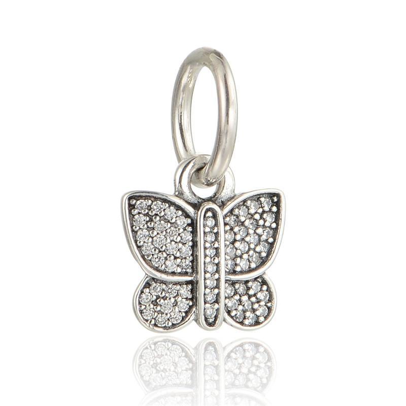 Passt Pandora Charms Armband 925 Sterling Silber Perle Funken Schmetterling Baumeln Charme Mit Zirkon Frauen DIY Perlen Für Schmuck