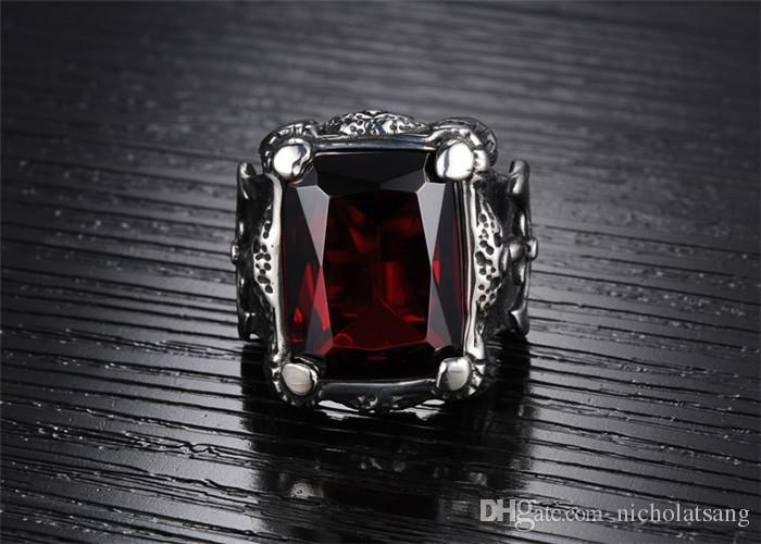 Joyería de moda de acero inoxidable 316L Cubic Zirconia patrón de anillo de cruz punky dominante de los hombres de la vendimia anillos de rubí para hombre fresco