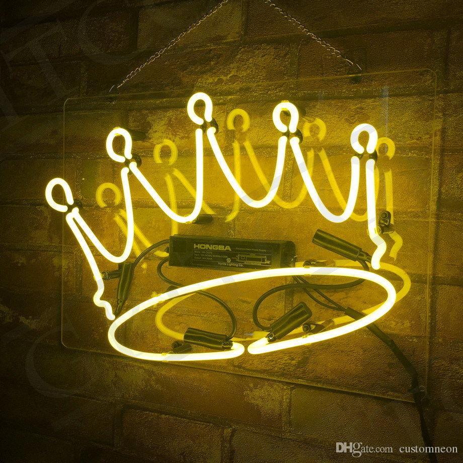 14X10 Neon Sign Light Crown Yellow Night Club Bedroom Wall Kitchen ...
