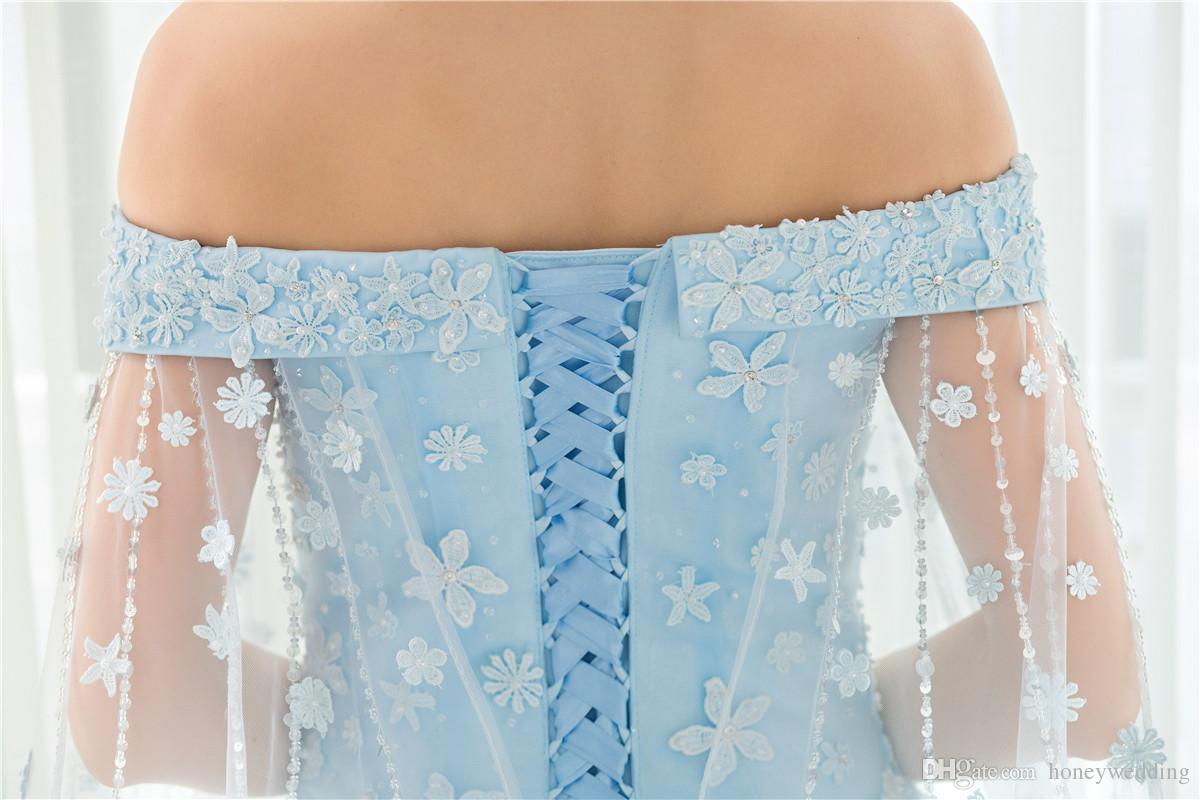 Vestidos de novia de lujo vintage 2019 de hombro apliques de encaje con cuentas en stock Foto real barata Azul claro Watteau vestidos de novia Vestidos