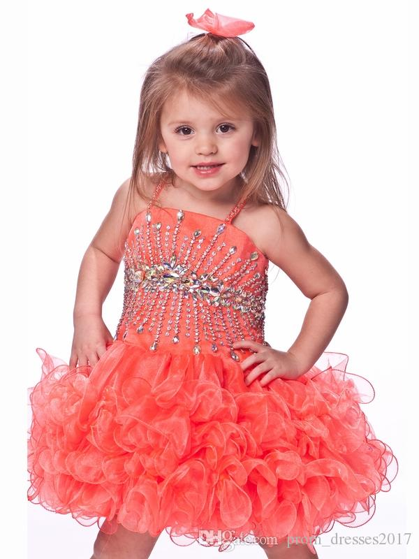 2016 Spaghetti Straps Kids Coral And Green Girls Puffy Dresses Infant Pageant Dresses First Holy Communion Dresses HY1315