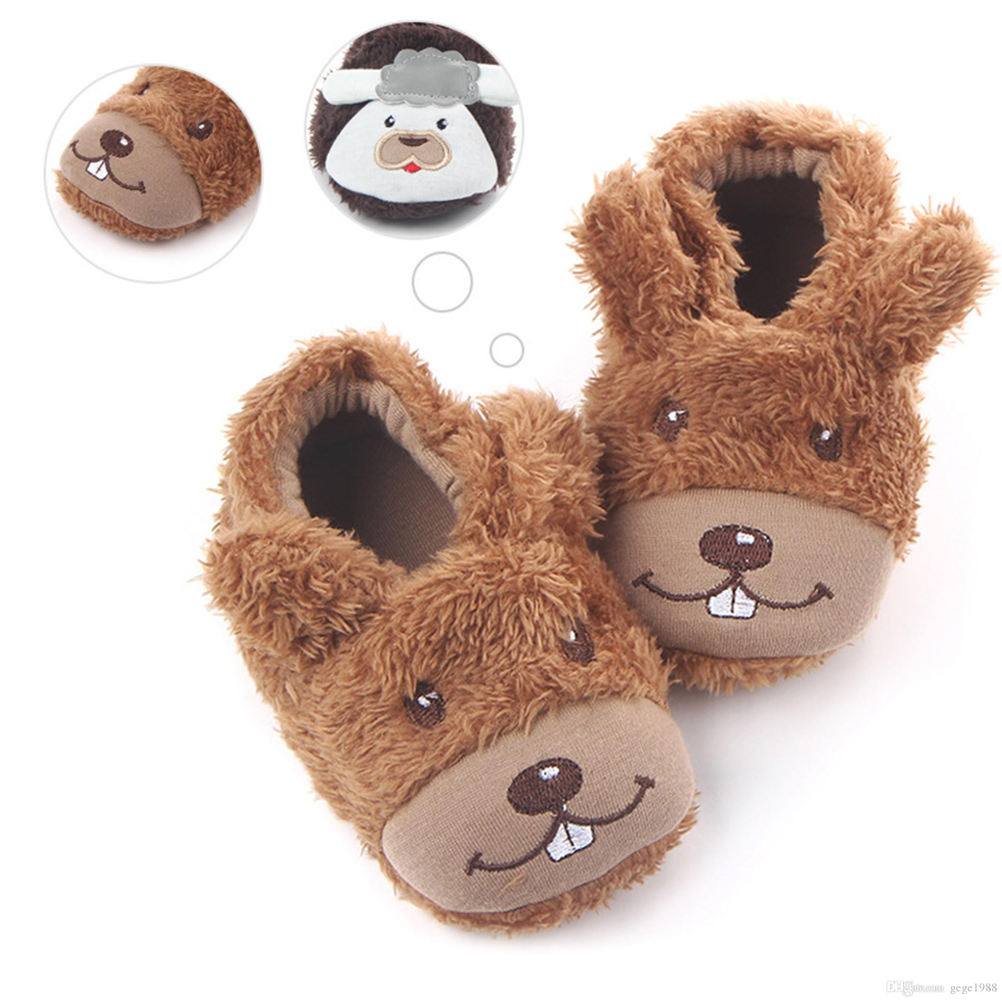 2018 Cute Cartoon Dog Cow Baby Home Slippers Kids Crib Shoes Plush