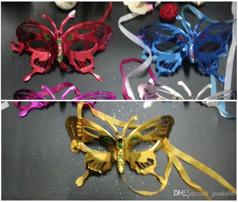 2016 NUOVA maschera di Halloween bambini mascherata maschera colorata disegno o modello placcatura farfalla principessa colorata a caldo