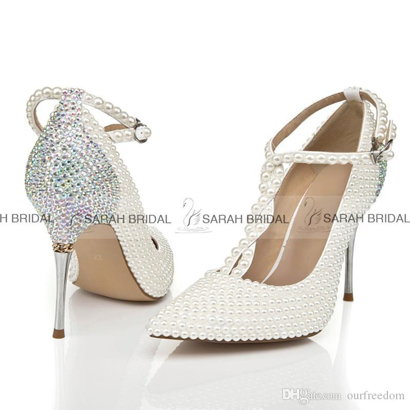 Nice Ivory Pearls Wedding Shoes For Bride Rhinestone