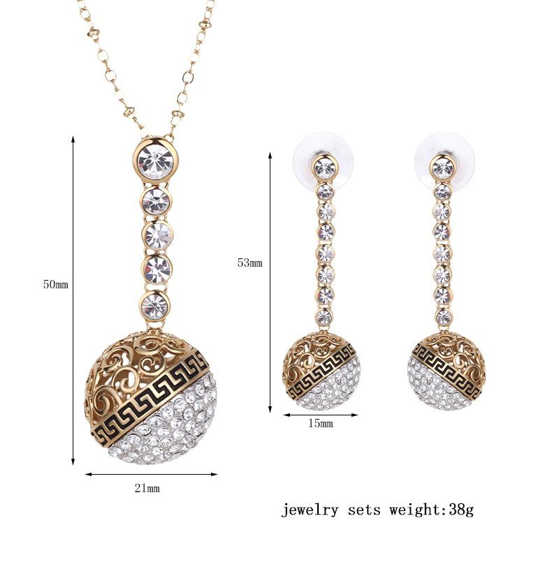 Round Ball Crystal Necklace Earrings Jewelry Sets Fashion 18k Gold Plated Lady Jewelry accessory For Best Gift 61152