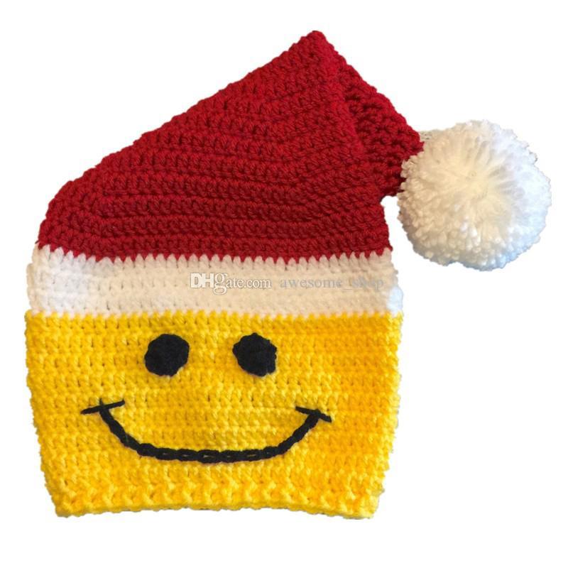 Großhandel Neuheit Santa Smiley Gesicht Hut Handgemachte Stricken