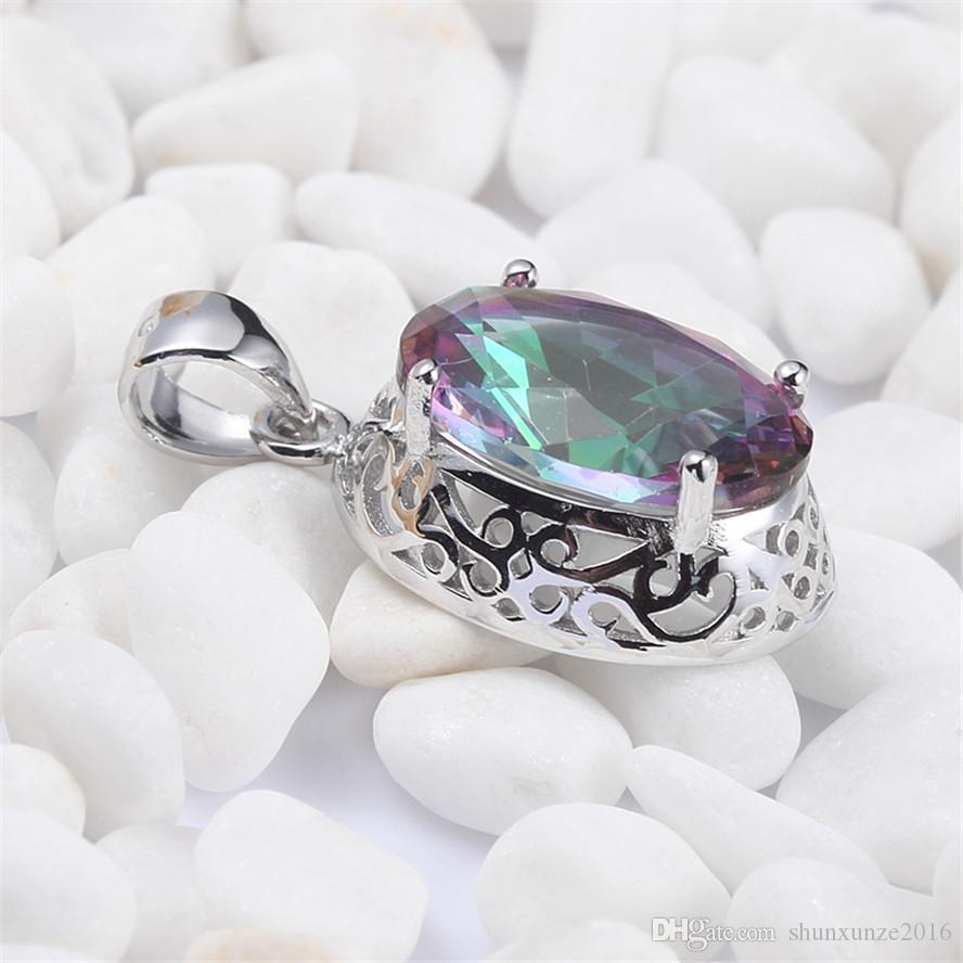 925 Sterling Silber Romantische Anhänger Shinning Edle Großzügige S-3713 Regenbogen Feuer Mystic Zirkonia Lieblings Bestseller Neuheiten
