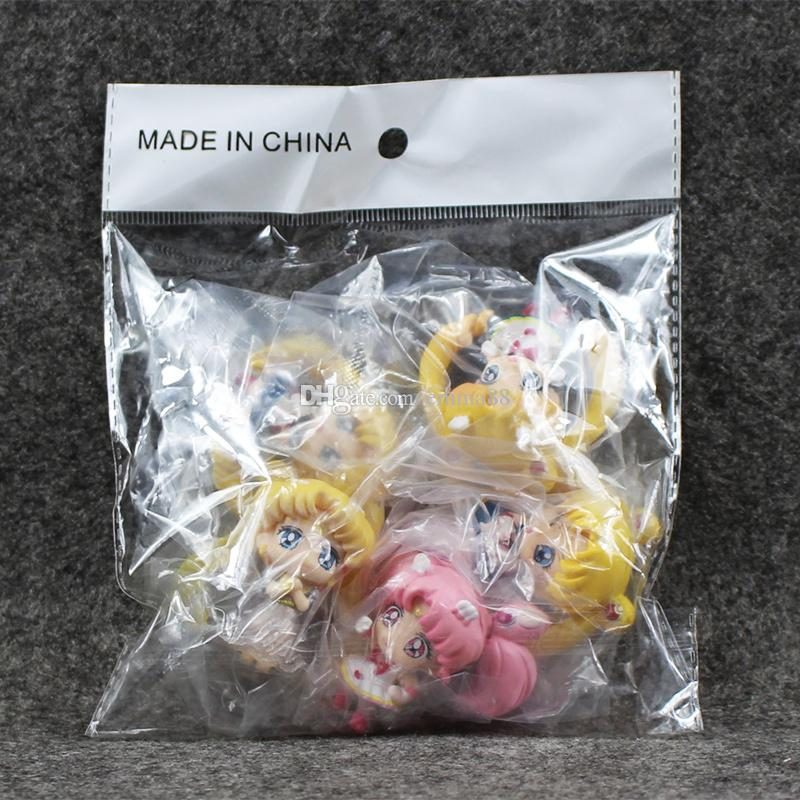 Anime Cartoon Sailor Moon Q Version PVC Action Figure Collection Model toy for kids gift Free Shiping EMS