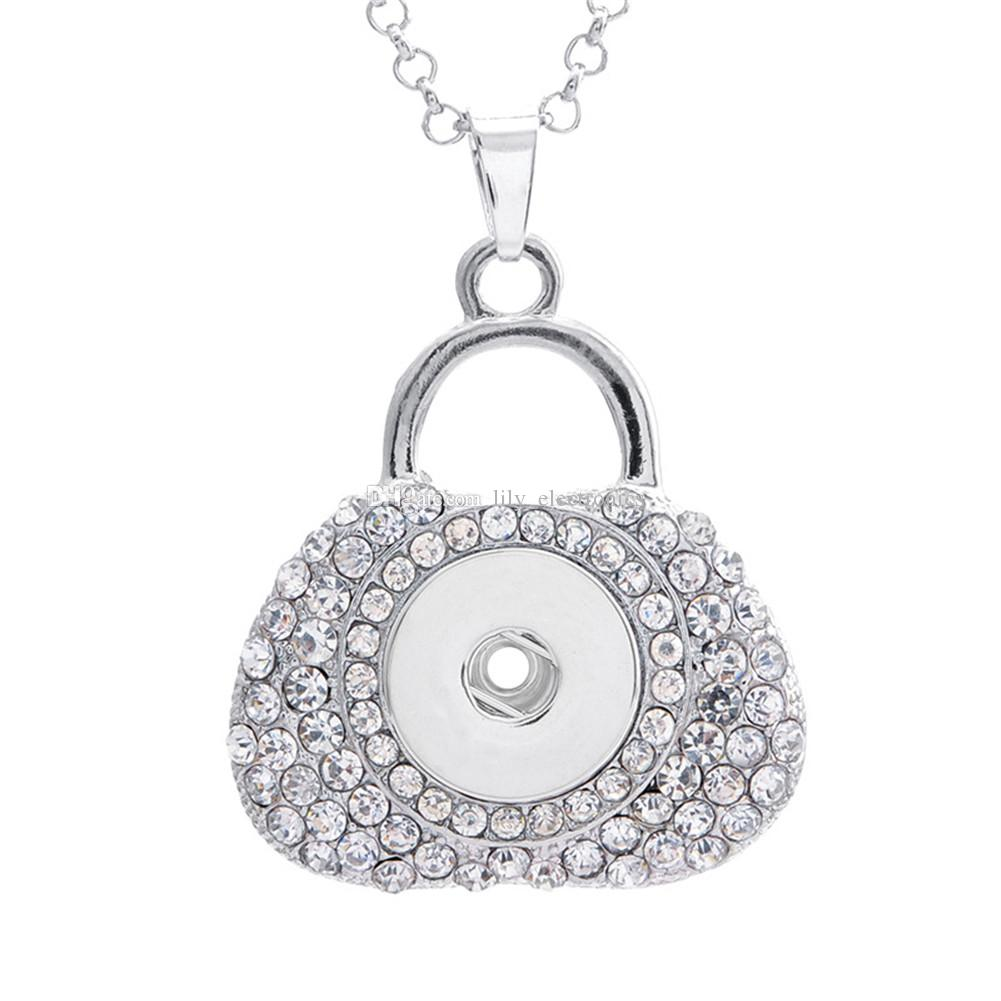 Alloy Snap Button Pendant Bag with Rhinestone Charm Locket For DIY Making Jewelry Findings Fit 18MM Noosa Chunks