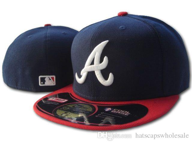 Men S Braves Fitted Hat Flat Embroiered Team A Letter Logo Fans Baseball Hats  Cheap Baseball Caps Braves Navy Top Red Brim Full Closed Newsboy Cap  Trucker ... 2eb2926a838