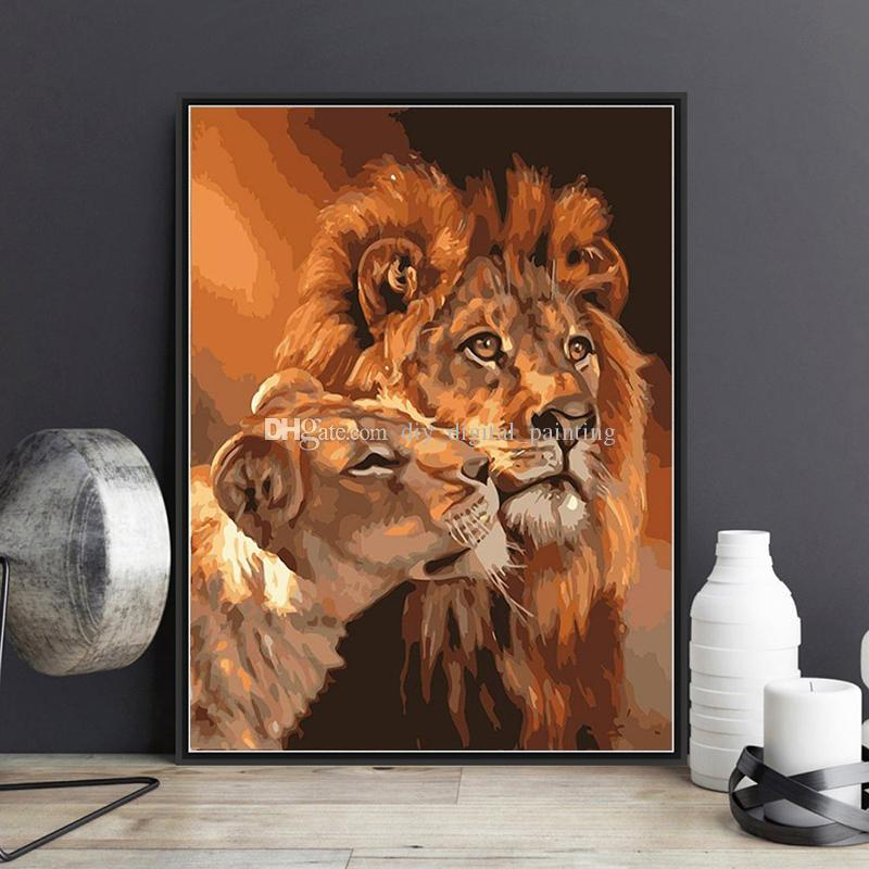 2018 Framed Lion Couple Diy Painting By Numbers Drawing By Painting ...