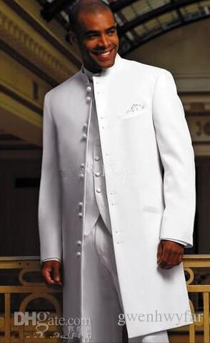 Blanc Long Manteau Tuxedos Groomaman Blazer Robe De Mariée Pour Hommes Vêtements De Bal Costumes Affaires Meilleur Costume Sur Mesure Homme Veste + Pantalon + Gilet