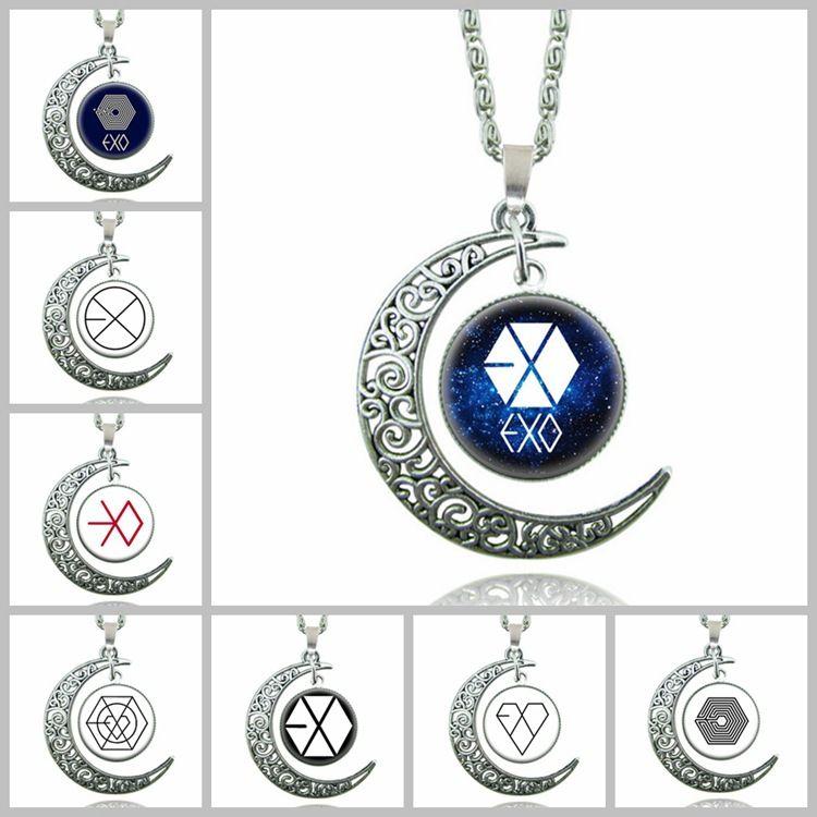 64 estilos Silver moonstone colar Coruja Flor árvore da vida Cabochon encantos de vidro lua e estrela pingente colares Para as mulheres Da Moda Jóias