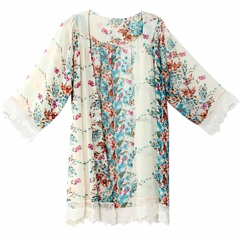 Vintage Chiffon Bluse Big Girl Frauen gedruckt Kimono Cardigan Fransen Saum Spitze Schal übergroßen Tops Outwear blusas femininas Poncho Outwear