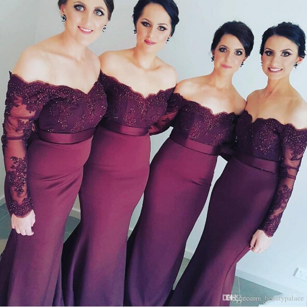 Long sleeve muslim wedding stretch satin bridesmaid dresses lace 5 ombrellifo Choice Image
