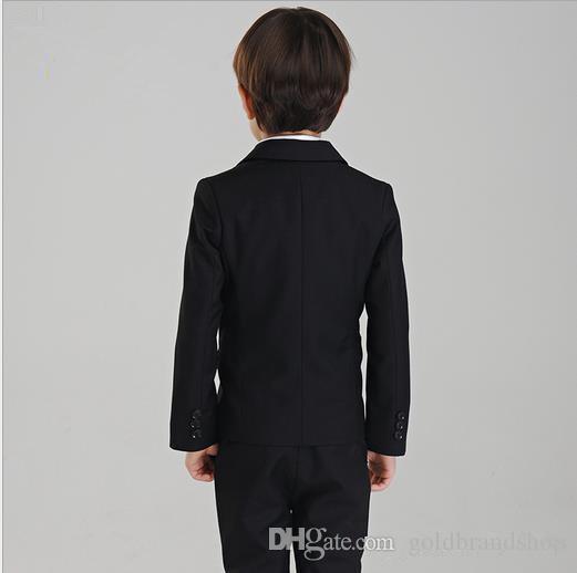 Boy's Formal Wear The little boy fashion dresses in black boy's suit boy wedding suits Tuxedo Formal SuitJacket+Pants