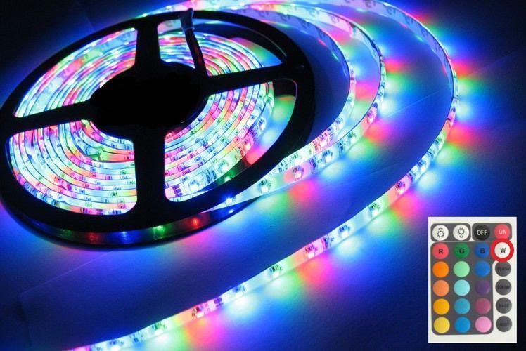 5 M RGB 3528 Flexível À Prova D 'Água 300 Led Luz de Tira +24 Teclas IR Remoto + UE EUA REINO UNIDO Adaptador de Energia