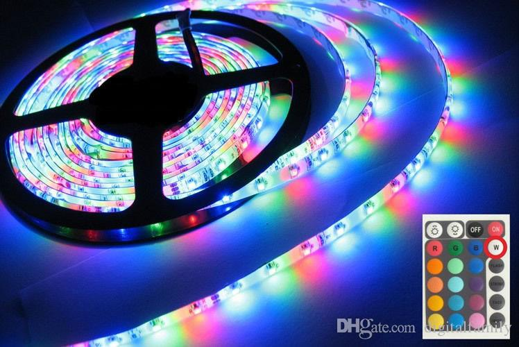 RGB LEDストリップライト3528 SMD 50メートル50メートル10ロール300 LEDSフレキシブル防水+ 24キーIRリモートコントローラー+ 12V 2A電源アダプターによるDHL