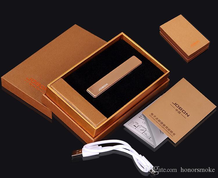 De carga USB ultra-delgada de metal a prueba de viento Encendedores de Rechangeable fumadores de cigarrillos electrónicos más ligero para hombres y mujeres de moda Jobon regalo