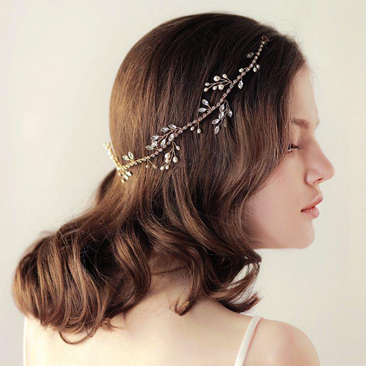 Bridal Headbands Tiara Hairband Headpiece 37*5cm Gold Handmade Jewelry Girl's Rhinestone Freshwater Pearl Ribbon Wedding Accessories Retail