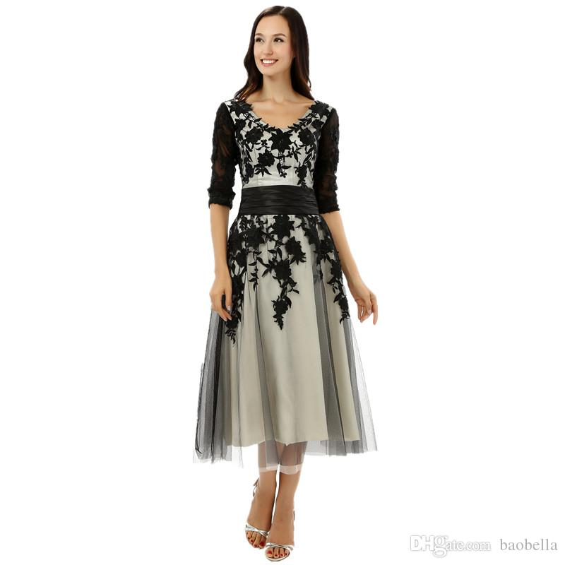 Short Prom Dresses 2017 Contrast Color Black Champagne Half Sleeves ...