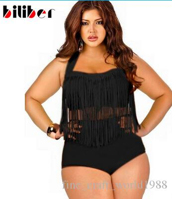e40784407e327 2019 AAA New Fatkini Swimwear Plus Size Bikini Fringe Tassel Bikinis Set  Sexy Push Up Swimwear High Waisted Bathing Suit Women Swimsuit Xxxl From ...